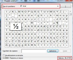 Inserire caratteri speciali – Mappa caratteri