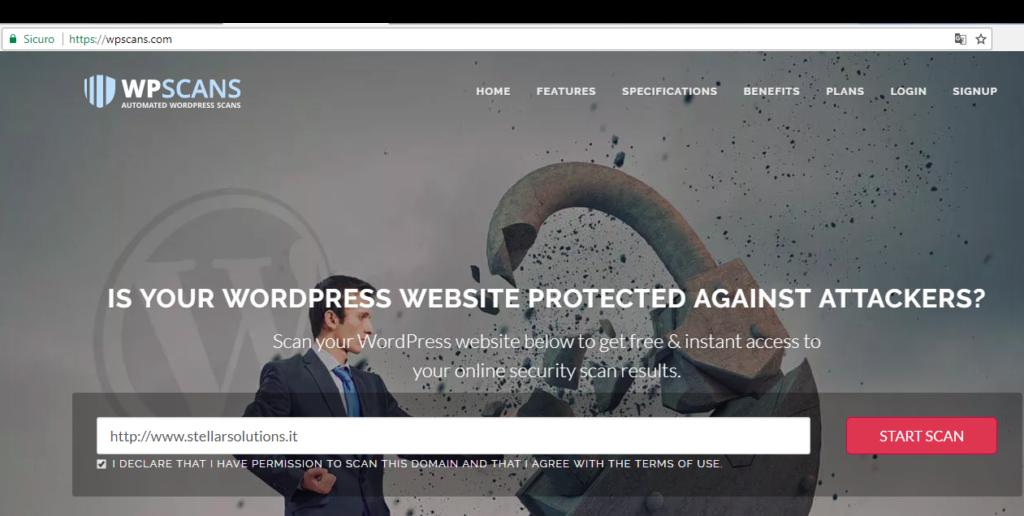 Scansione sicurezza sito WordPress