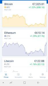 Vista in tempo reale dell'andamento delle cryptovalute