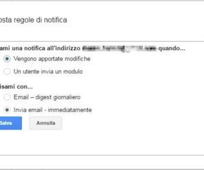 Google Fogli Excel – Ricevere notifica email