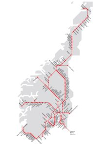Principali linee treno Norvegia (NSB)