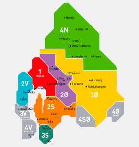 Area di Oslo divisa per aree