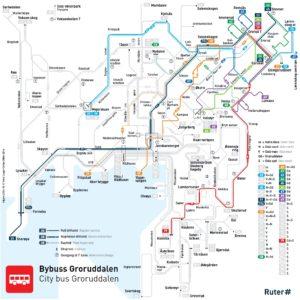 Dettaglio linee del bus Oslo area Grorud (Nord-Est)